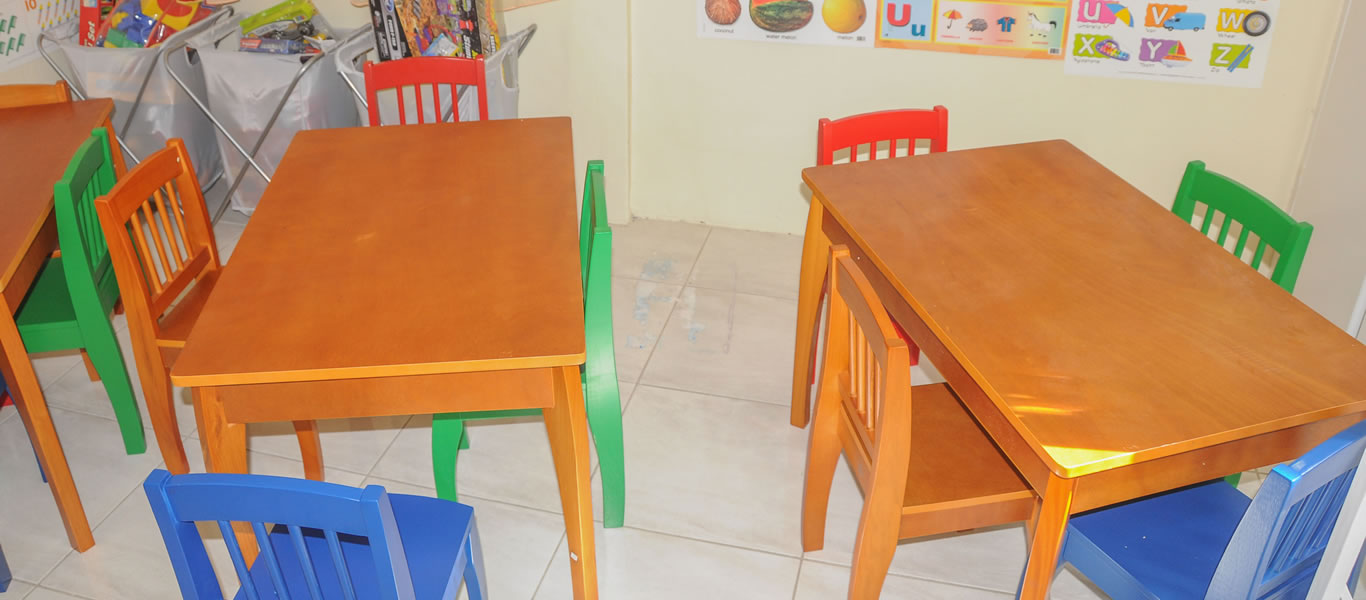 <strong>Desk and chairs</strong>         <br/>Myrtle's Place launches pre-school with corporate assistance